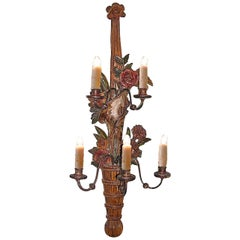 French 19th Century Carved and Painted Gesso Single Sconce with 5 Outer Lights
