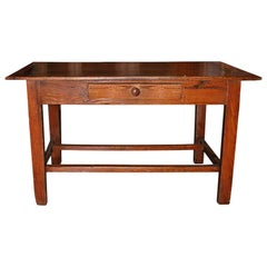 French Small Fruitwood Country Table with Stretcher and Small Centre Drawer