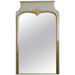 French Gold-Leaf and Painted Trumeau Mirror with Original Mirror Glass