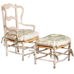 French Provençal Rush Armchair with Matching Ottoman