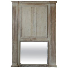 French 19th Century Louis XVI Painted Trumeau Mirror with Original Mirror Glass