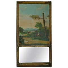 French 19th Century, Louis XVI Trumeau Mirror with Oil on Canvas Hunting Scene