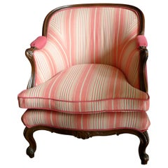 French 19th Century Walnut Bergère Chair Reupholstered with New Fabric