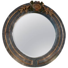 Italian 19th Century Green and Gold Round Wood Framed Mirror
