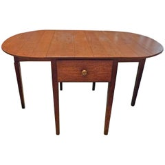 English Stained Pine Drop-Leaf, Gate-Leg Oval Table with Side Drawer