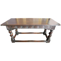 Spanish 18th Century Hand Carved Oak Console Table with Turned Legs
