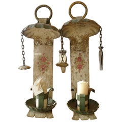 2 Spanish 19th Century Painted Metal Wall Sconces