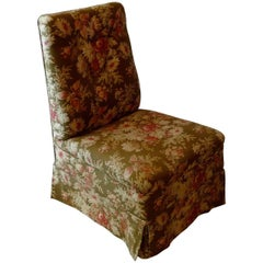 French 19th Century Slipper Chair with Floral Pattern Slip Cover