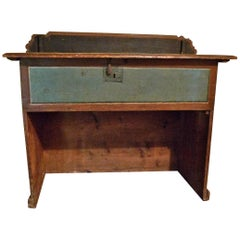 19th Century Painted Pine Counter with Inner Chamber and Original Hardware