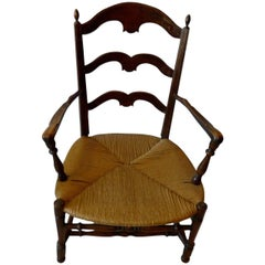 French 19th Century Country Ladder Back Armchair with Rush Seat