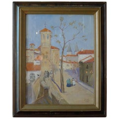 Portuguese 1944 Watercolor Painting of Church Tower