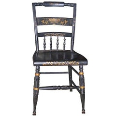 One French 19th Century Side Chair Painted Black with Decorative Design in Gold