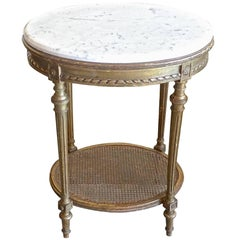 French 19th Century Louis XVI Marble-Top Gold-Leaf Oval Side Table