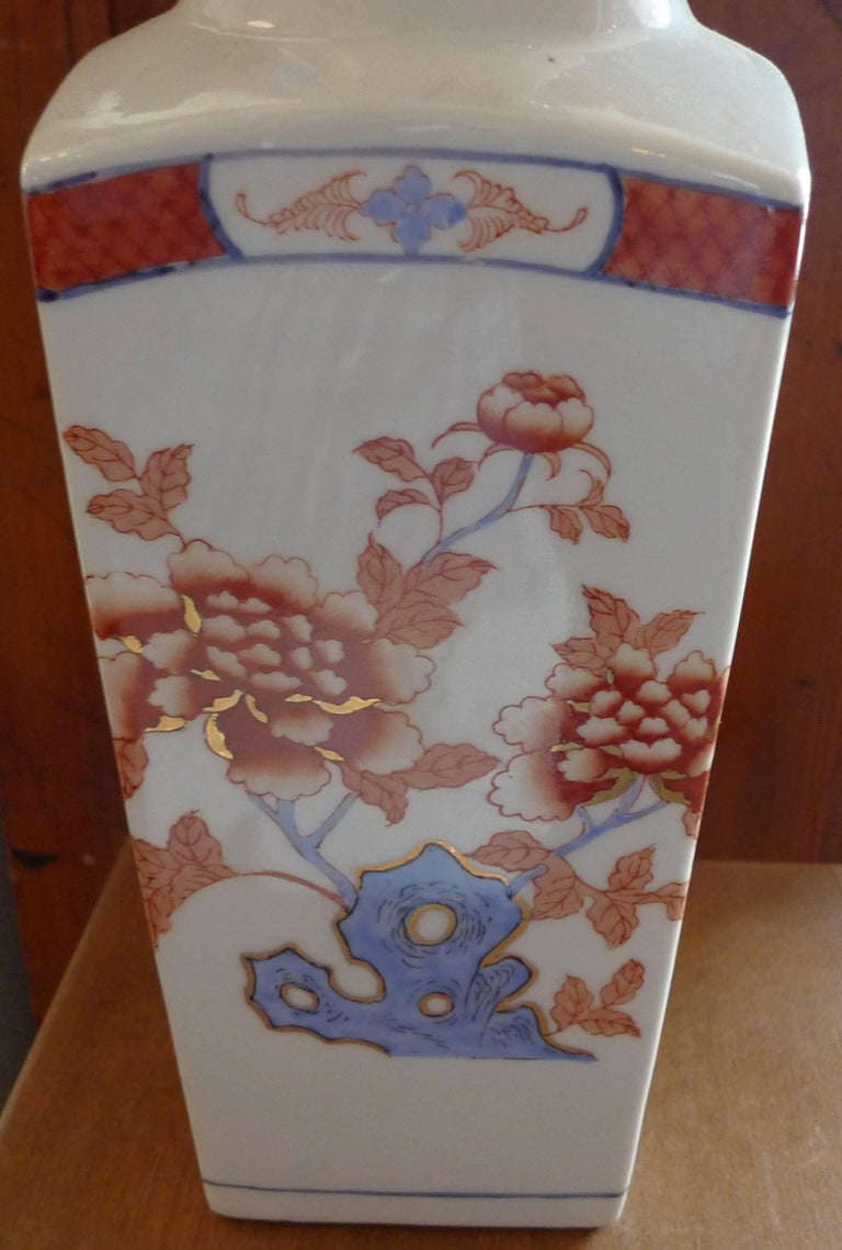 American Contemporary Porcelain Vase with Painted Glazed Flowers In Good Condition For Sale In Santa Monica, CA