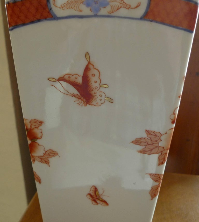 Mid-20th Century American Contemporary Porcelain Vase with Painted Glazed Flowers For Sale
