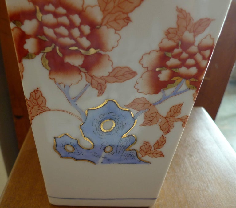 American Contemporary Porcelain Vase with Painted Glazed Flowers For Sale 1
