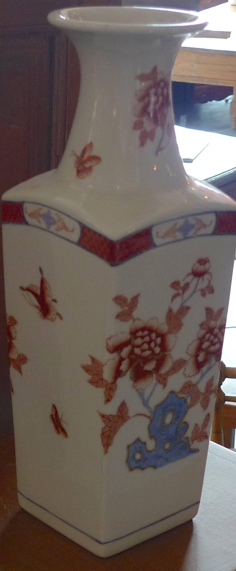 American Contemporary Porcelain Vase with Painted Glazed Flowers For Sale 3