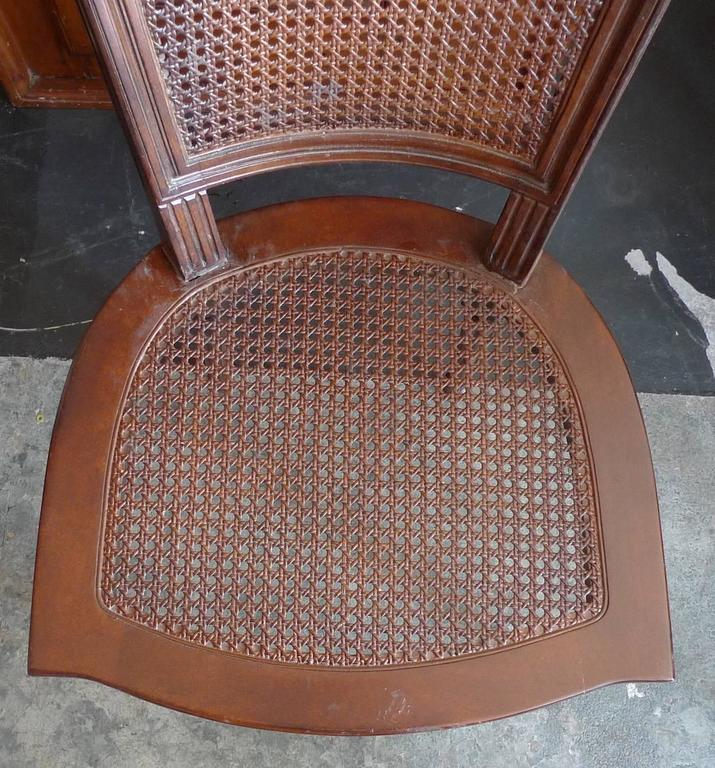 French Xix Rattan Stained Side Chair With Cushion At 1stdibs