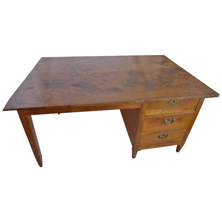 French 19th Century Walnut Writing Desk with Three Drawers and Original Hardware