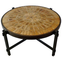 French 1960s Signed Roger Capron Round Coffee Table in Tile and Iron
