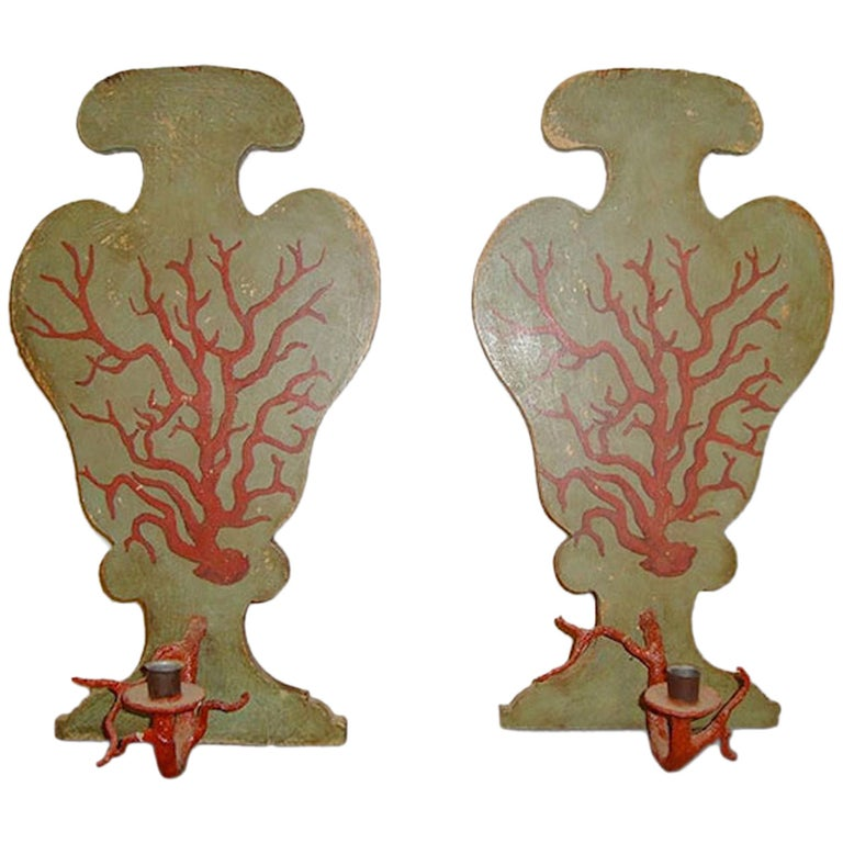 Pair of 1950s Italian Faux Coral Sconces