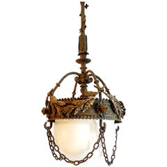 French 1920s Cast Iron Lantern