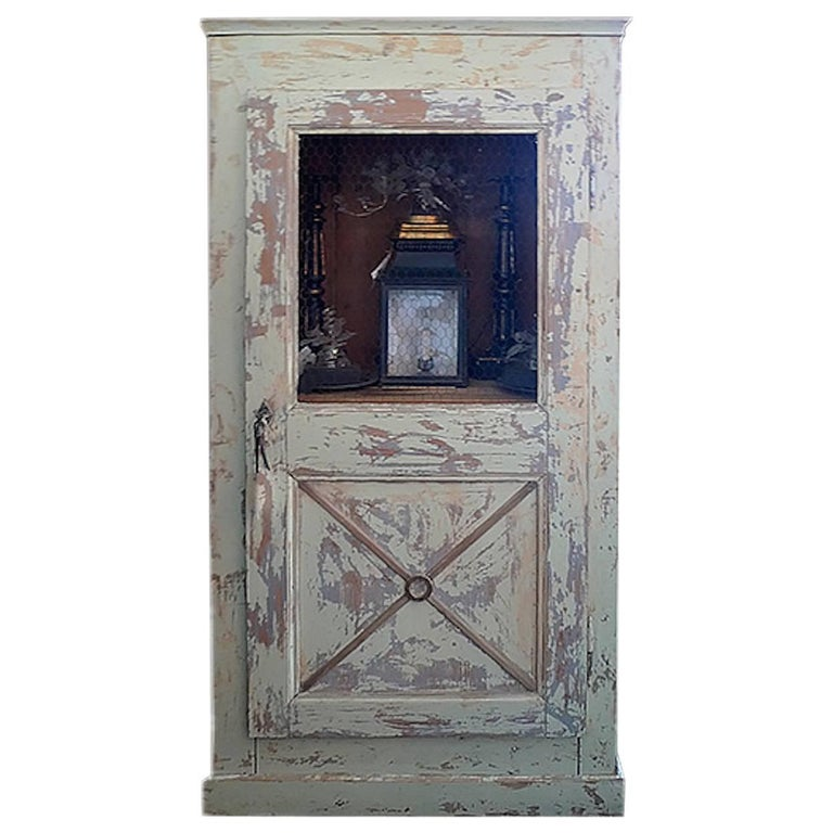 French 19th Century Single Door Painted Buffet with Wire Opening on Top Half.