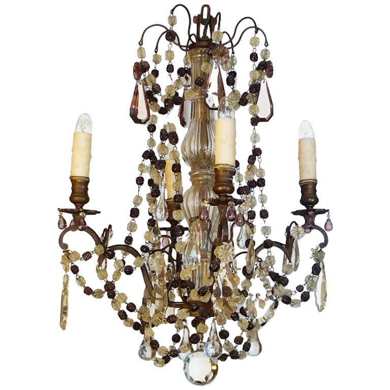 French 19th Century Metal and Crystal Chandelier with Four Lights