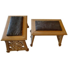Two Spanish 19th Century Hand-Carved Pine Stools With Leather Seats.