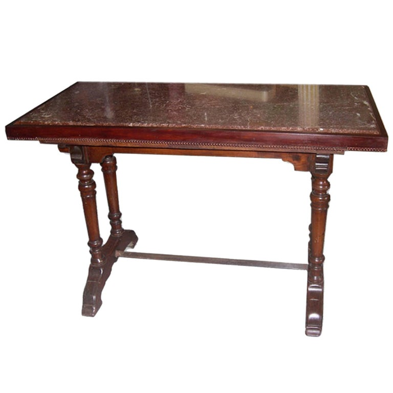 French 1930s Rouge Marble Top Bistro Table on Walnut