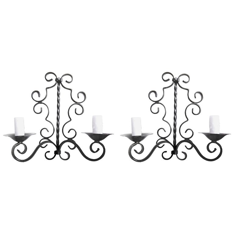 2 French 1920s Painted Wrought Iron Wall Sconces