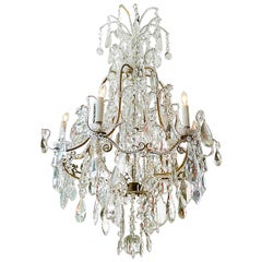 French 1940s Glass and Crystal Chandelier with Six Lights