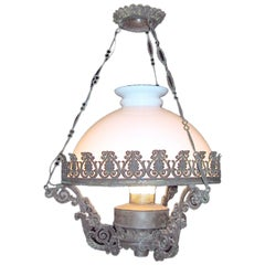 Swedish 1930s Toile and Milk Glass Half Globe Pendant with Up and Down Lights
