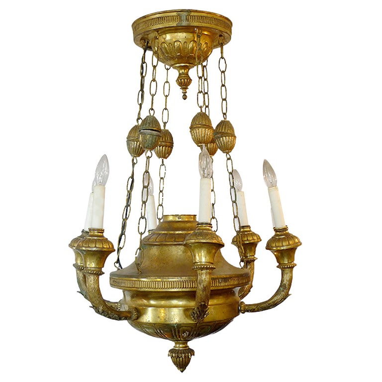 Italian 19th Century Bronze Dome Chandelier With Six Arms And Lights For