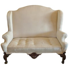 English XVIII Georgian Wingback Sofa. Sold As Is. To Be Re-Upholstered.