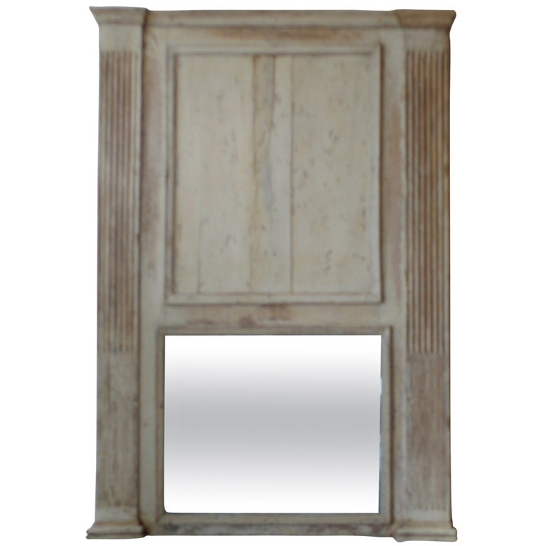 French 19th Century Louis XVI Painted Trumeau Mirror with Original Glass