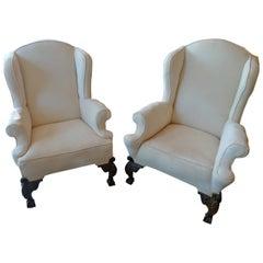 Pair of English Georgian 18th Century Wingback Armchairs