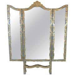 Spanish 19th Century Folding Triptych Gold and Green Decorative Wall Mirror