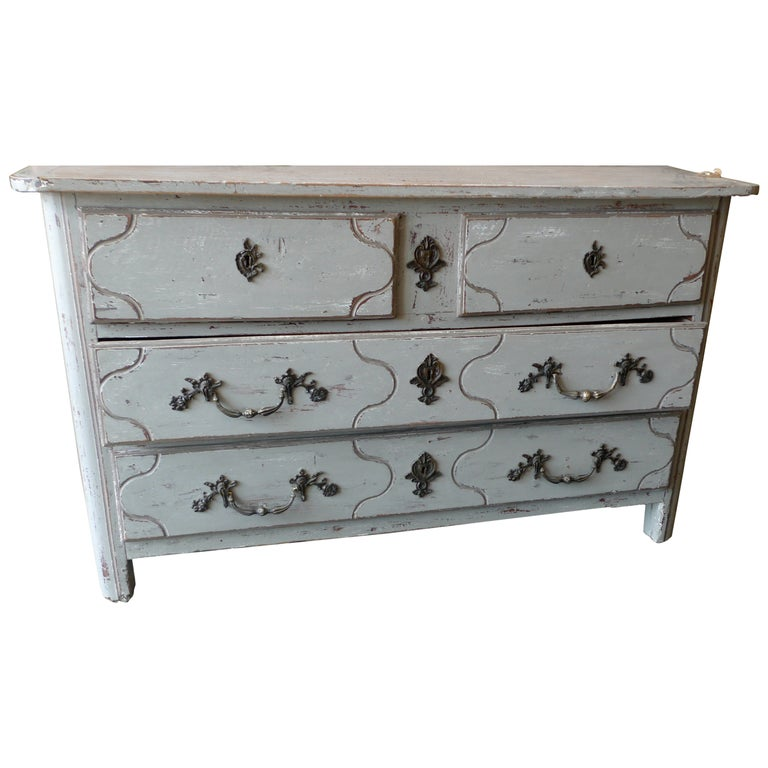 French 18th Century Painted Four-Drawer Chest of Drawers with Original Hardware