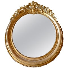 French 19th Century Hand-Carved Louis XVI Gold-Leaf Oval Mirror with Crown