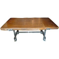 French 1960s Small Walnut Coffee Table with Wrought Iron Legs
