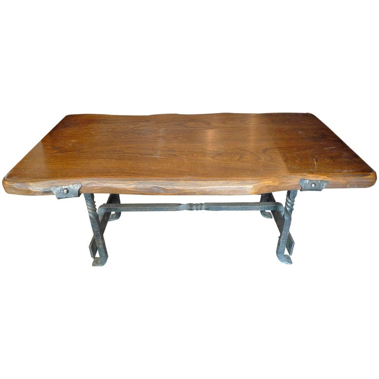 French 1960s Small Walnut Coffee Table With Wrought Iron Legs For
