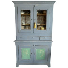 19th Century Painted Pine Buffet with Two Glass Paneled and Two Solid Doors