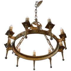 French 19th Century Round Gilded Iron Chandelier with Nine Outer Lights