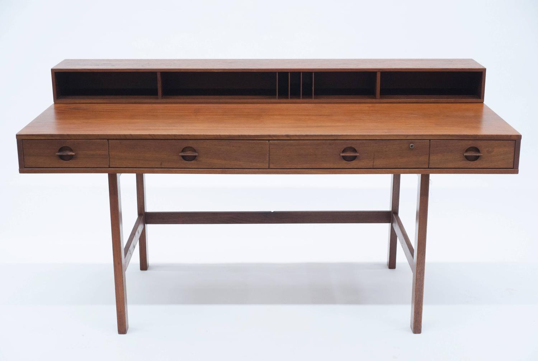 Danish flip top partners desk by lovig 1972 at 1stdibs for Flip top computer desk