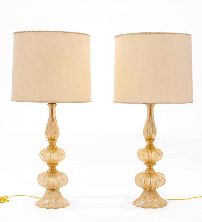 Mid-Century Modern Barovier & Toso Pair of Glass Italian Murano Table Lamps For Sale