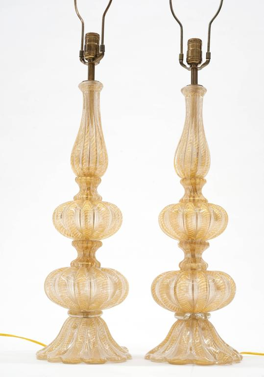 Barovier & Toso Pair of Glass Italian Murano Table Lamps In Good Condition For Sale In Washington, DC