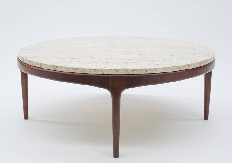 Scandinavian Modern Danish Modern Round Low Travertine Coffee Table For Sale
