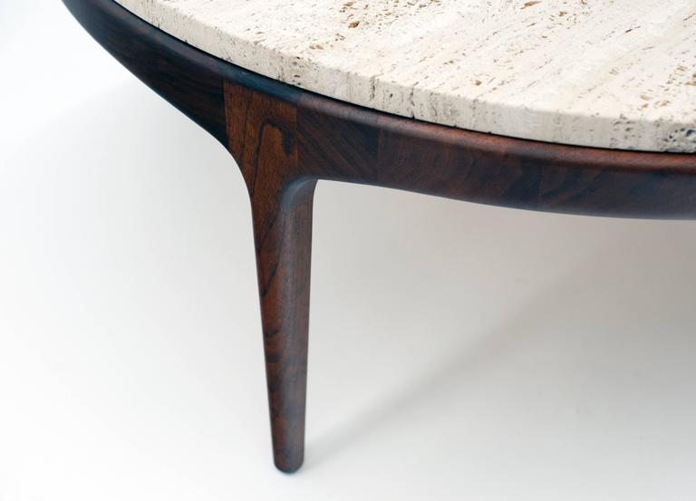 Danish Modern Round Low Travertine Coffee Table At 1stdibs
