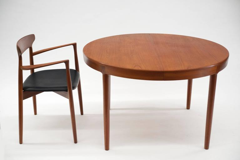 Round Extendable Danish Dining Table by Harry Ostergaard for